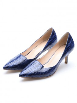Women's Closed Toe Patent Leather Cone Heel With Crocodile Print Party Shoes