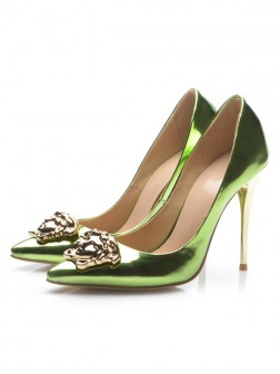 Women's Closed Toe Patent Leather Stiletto Heel Party Shoes