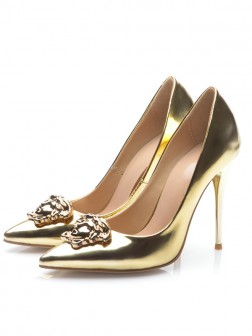 Women's Gold Patent Leather Closed Toe Stiletto Heel Evening Shoes
