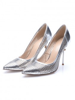 Women's Silver Patent Leather Closed Toe Stiletto Heel Evening Shoes