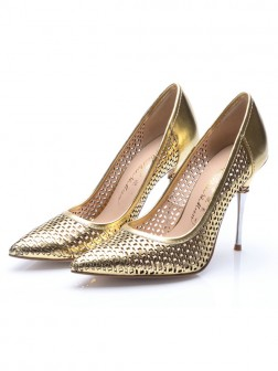Women's Patent Leather Gold Closed Toe Stiletto Heel Evening Shoes