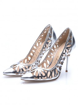 Women's Patent Leather Silver Closed Toe Stiletto Heel Evening Shoes