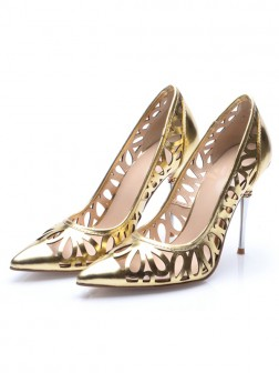 Women's Stiletto Heel Patent Leather Gold Closed Toe Evening Shoes