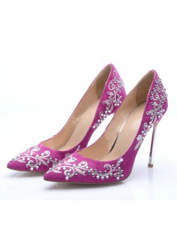 Women's Stiletto Heel Suede Closed Toe With Embroidery Party Shoes