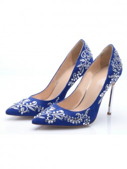 Women's Suede Closed Toe Stiletto Heel With Embroidery Evening Shoes