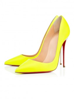 Women's Yellow Patent Leather Closed Toe Stiletto Heel Evening Shoes