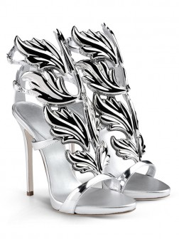 Women's Silver Patent Leather Peep Toe Stiletto Heel Sandal Shoes