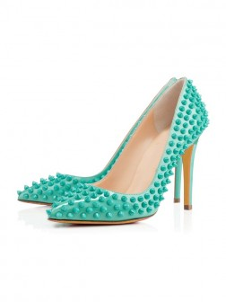 Women's Patent Leather Closed Toe Stiletto Heel With Rivet Prom Shoes