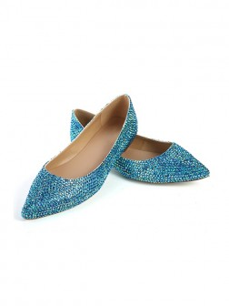 Women's Closed Toe Flat Heel Sheepskin With Sequin Shoes