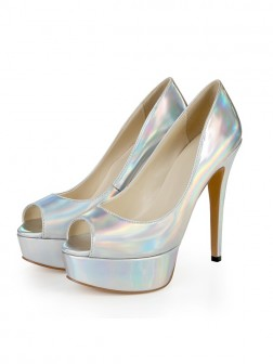 Women's Patent Leather Peep Toe Platform Stiletto Heel Wedding Shoes
