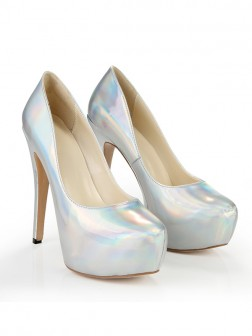 Women's Closed Toe Platform Patent Leather Stiletto Heel Wedding Shoes