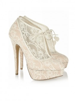 Women's Lace Stiletto Heel Closed Toe Platform Wedding Boots