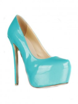 Women's Patent Leather Stiletto Heel Closed Toe Platform Shoes