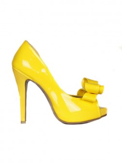 Women's Patent Leather Stiletto Heel Peep Toe Platform With Bowknot Shoes