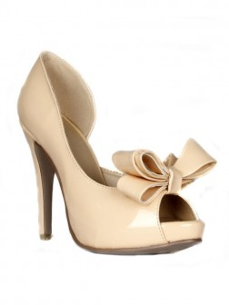 Women's Stiletto Heel Patent Leather Peep Toe Platform With Bowknot Shoes