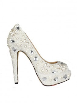 Women's Patent Leather Stiletto Heel Peep Toe Platform With Pearl Wedding Shoes