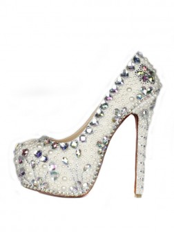 Women's Patent Leather Stiletto Heel Closed Toe Platform With Pearl Shoes