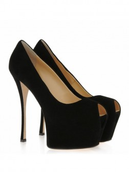 Women's Suede Stiletto Heel Peep Toe Platform Shoes