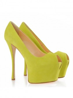 Women's Suede Peep Toe Stiletto Heel Platform Shoes