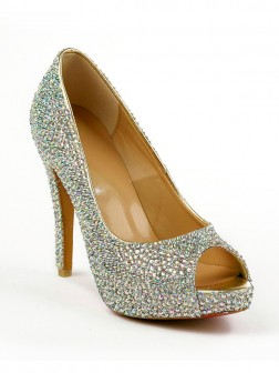 Women's Sheepskin Peep Toe Stiletto Heel Platform With Rhinestone Shoes