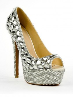 Women's Patent Leather Peep Toe Stiletto Heel Platform With Rhinestone Shoes