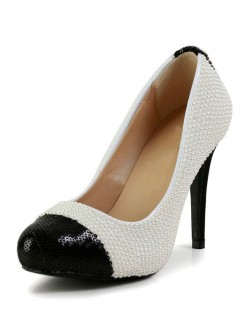 Women's Stiletto Heel Patent Leather Closed Toe Platform With Pearl Shoes