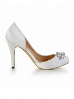 Women's Stiletto Heel Silk Closed Toe With Rhinestone Platform Wedding Shoes