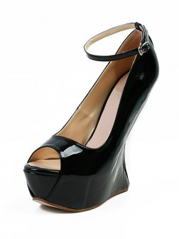 Women's Wedge Heel Patent Leather Peep Toe Platform Mary Jane Shoes