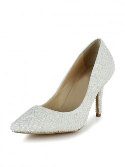 Women's Stiletto Heel Patent Leather Closed Toe With Pearl Wedding Shoes