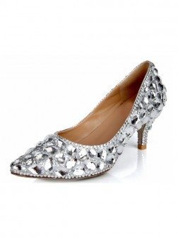 Women's Cone Heel Sheepskin Closed Toe With Rhinestone Wedding Shoes