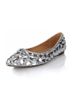 Women's Flat Heel Closed Toe Sheepskin With Rhinestone Shoes