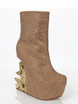 Women's Suede Wedge Heel With Rhinestone Platform Mid-Calf Boots