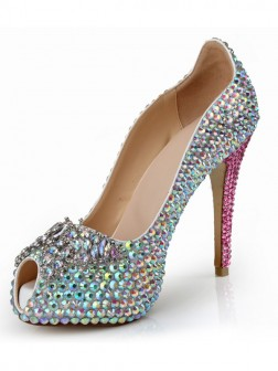 Women's Peep Toe Patent Leather Stiletto Heel Platform With Rhinestone Shoes