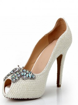 Women's Peep Toe Patent Leather Stiletto Heel Platform With Pearl Rhinestone Shoes