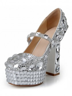 Women's Patent Leather Closed Toe Chunky Heel Platform With Rhinestone Shoes