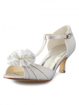 Women's Satin Stiletto Heel T-Strap Peep Toe With Flower Wedding Shoes