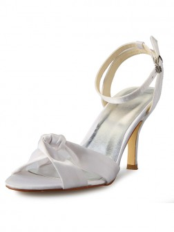 Women's Stiletto Heel Peep Toe Satin With Buckle Mary Jane Wedding Shoes