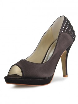 Women's Satin Cone Heel Platform Peep Toe With Rhinestone Shoes