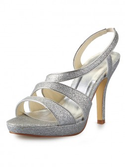 f20a8a591 Women s Cone Heel Platform Satin Peep Toe With Sparkling Glitter Sandal  Shoes