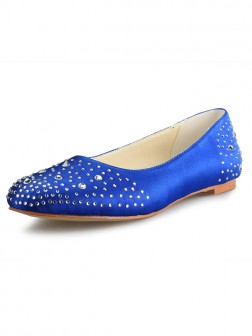 Women's Flat Heel Satin Closed Toe With Rhinestone Shoes