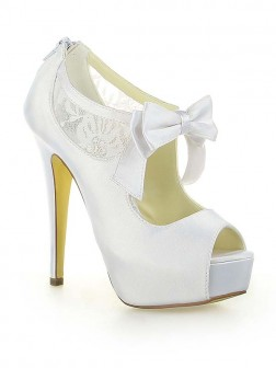 Women S Satin Lace Platform P Toe With Bowknot Stiletto Heel Wedding Shoes