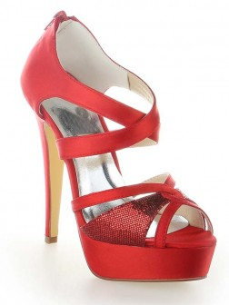Women's Satin Platform Peep Toe With Zipper Cone Heel Shoes