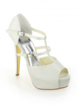 Women's Satin Platform Peep Toe Stiletto Heel With Buckle Wedding Shoes
