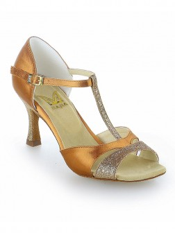 Women's Satin Peep Toe With Buckle Stiletto Heel Dance Shoes