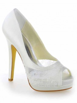 Women's Satin Lace Peep Toe Stiletto Heel Platform Wedding Shoes