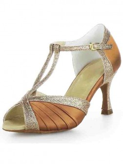 Women's Stiletto Heel Satin Peep Toe With Buckle Sparkling Glitter Dance Shoes