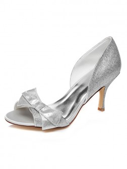 Women's Spool Heel Peep Toe Satin With Bowknot Wedding Shoes