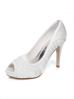 Women's Stiletto Heel Peep Toe Satin Wedding Shoes