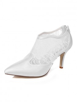 Women's Satin Spool Heel Closed Toe With Zipper Wedding Shoes