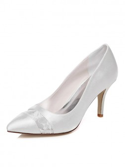 Women's Spool Heel Closed Toe Satin Wedding Shoes